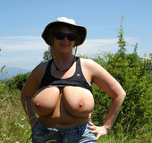 Toni KatVixen flashing the camera while hiking