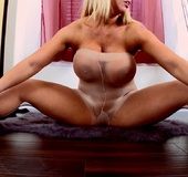 Blonde busty mom in pantyhose posing on cam and&hellip;