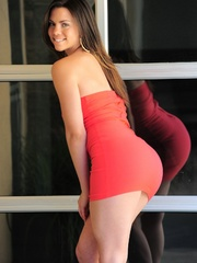 Tattooed latina girl in red dress gets nude and - XXXonXXX - Pic 4