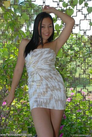 Dirty latina hottie takes off her sexy white dress and drills her pussy with a glass dildo - XXXonXXX - Pic 1