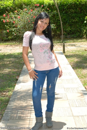 Lovely latina teen in jeans gets naked to satisfy her lust with a vibrator - XXXonXXX - Pic 1