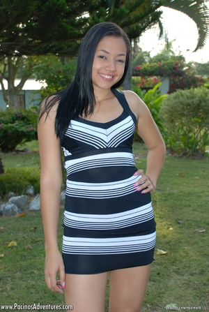 Hot latina teen in a striped dress gets her tight pussy banged in doggy style - XXXonXXX - Pic 1