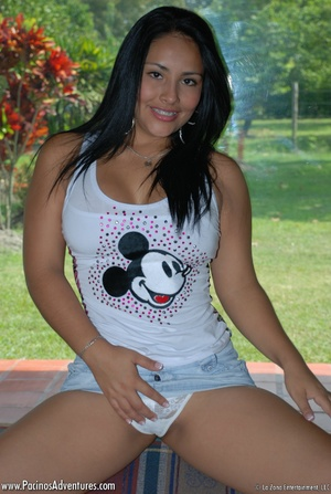 Cool latina hottie in a T-shirt pleasing her pussy with a vibrator - XXXonXXX - Pic 3