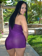 Lovely brunette in purple dress stripping and - XXXonXXX - Pic 3