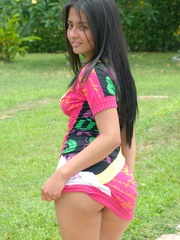 Nice latina chick in pink dress gets naked and - XXXonXXX - Pic 1