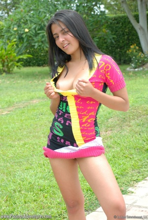 Nice latina chick in pink dress gets naked and drills her cunt with a red vibrator - XXXonXXX - Pic 2
