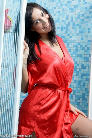 Lovely latina with bgi tits in a red bathrobe gets nude to play with milk and water for your pleasure - XXXonXXX - Pic 1