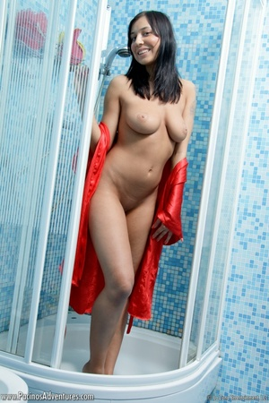 Lovely latina with bgi tits in a red bathrobe gets nude to play with milk and water for your pleasure - XXXonXXX - Pic 6