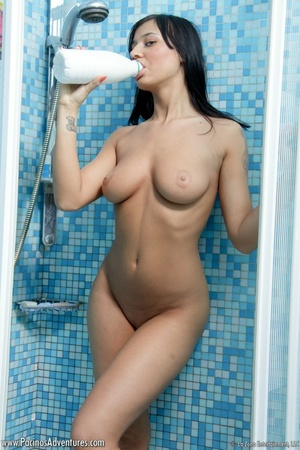 Lovely latina with bgi tits in a red bathrobe gets nude to play with milk and water for your pleasure - XXXonXXX - Pic 7