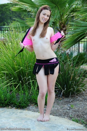 Small-titted acrobatic girl pounding her snatch with a vibrator outdoors - XXXonXXX - Pic 7