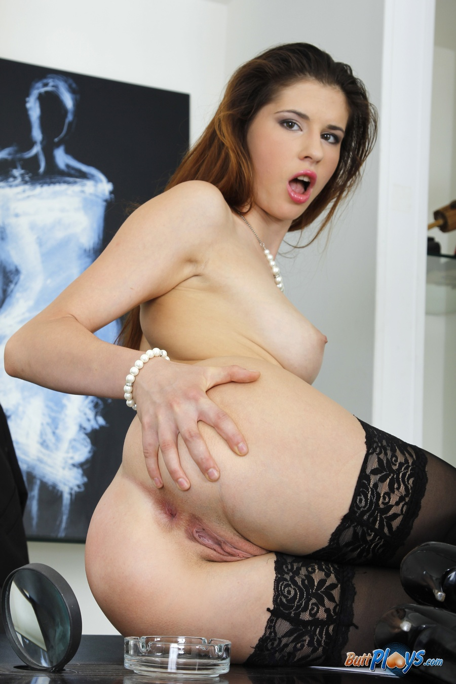 Young brunette on 11-inch cock