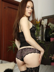 Ginger small-titted chick in black stockings gets - XXXonXXX - Pic 2