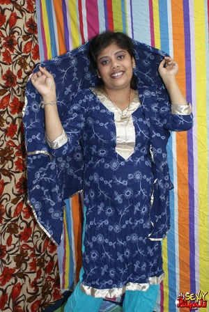 Indian chick in blue national costume and funny lingerie gets nude and poses on cam - XXXonXXX - Pic 3