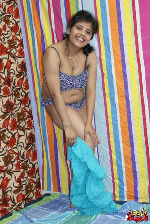 Indian chick in blue national costume and funny lingerie gets nude and poses on cam - XXXonXXX - Pic 6