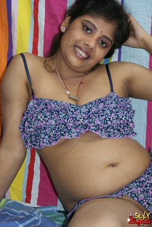 Indian chick in blue national costume and funny lingerie gets nude and poses on cam - XXXonXXX - Pic 8