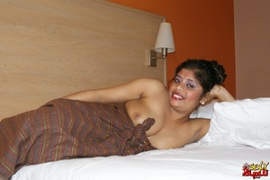 Fat Indian chick in brown cover gets nude and exposes her booty - XXXonXXX - Pic 5