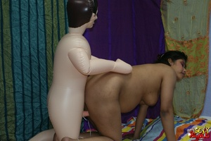 Dirty Indian bitch jumping on her blow-up male doll's cock and then ducks it - XXXonXXX - Pic 12