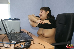 Nasty Indian chick sitting in front of the laptop demonstrating her naked boobs on the Internet - XXXonXXX - Pic 6