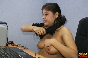 Nasty Indian chick sitting in front of the laptop demonstrating her naked boobs on the Internet - XXXonXXX - Pic 12
