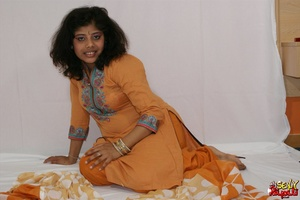 Lewd Indian bitch in orange national costume gets nude to wear her nice lingerie - XXXonXXX - Pic 4