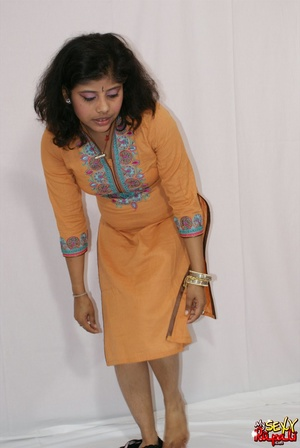 Lewd Indian bitch in orange national costume gets nude to wear her nice lingerie - XXXonXXX - Pic 6