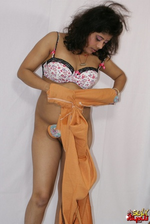 Lewd Indian bitch in orange national costume gets nude to wear her nice lingerie - XXXonXXX - Pic 10