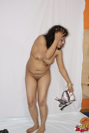 Lewd Indian bitch in orange national costume gets nude to wear her nice lingerie - XXXonXXX - Pic 13