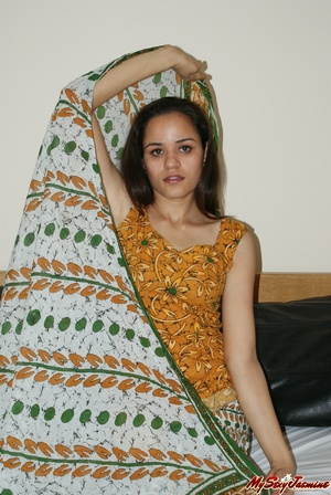 Nasty Indian teen taking off her blue lingerie to demonstrate her tender tits - XXXonXXX - Pic 4
