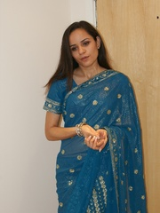 Naughty Indian teen Jasmine in blue sari gets - XXXonXXX - Pic 1