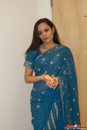 Naughty Indian teen Jasmine in blue sari gets topless to show you her fresh tits - XXXonXXX - Pic 1