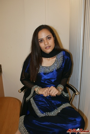 Hot Indian girl in nice blue national costume stripping to expose her lovely body on cam - XXXonXXX - Pic 1