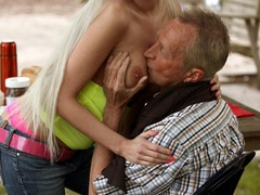 Old boy takes cool brunette chick in the - XXX Dessert - Picture 4