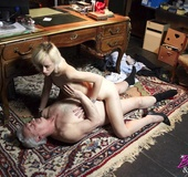 Slutty blonde secretary seduces her old boss to…