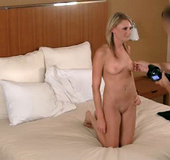 Very hot blonde student girl takes cool facial…