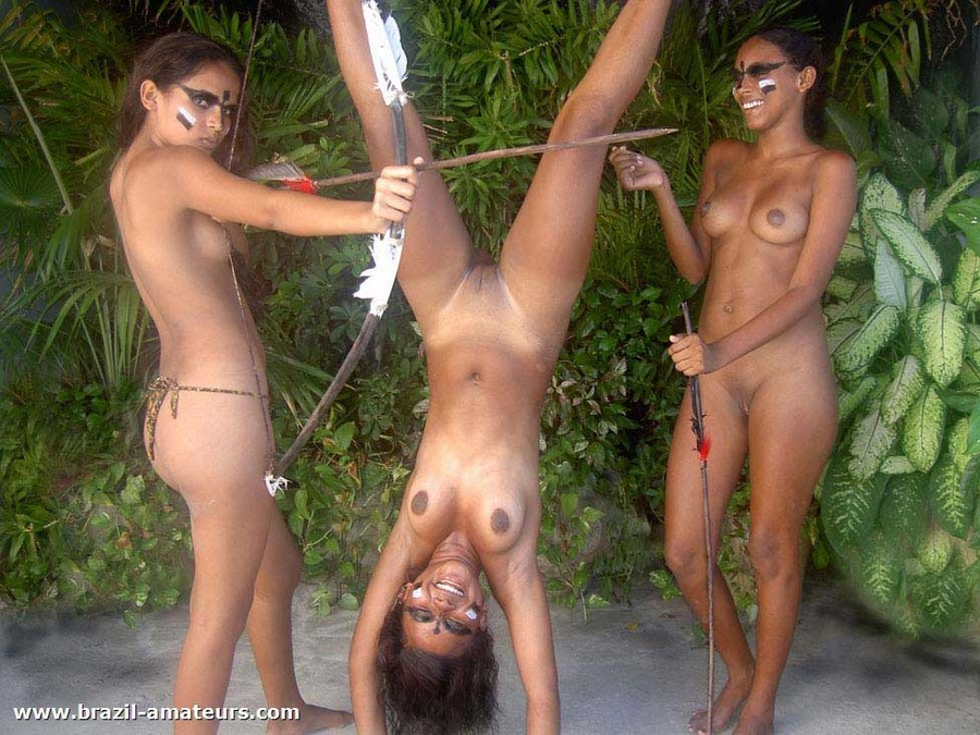 Wild ebony hunters in war paints and with bows caught dirty ebony bitch and prepare to jeer her badly - XXXonXXX - Pic 3