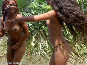 Swarthy gals in G strings and war paints posing on cam in the wild jungle - XXXonXXX - Pic 2