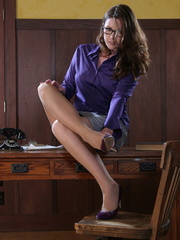 Lovely red secretary in a purple - Sexy Women in Lingerie - Picture 2