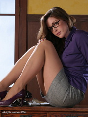 Lovely red secretary in a purple - Sexy Women in Lingerie - Picture 5