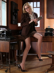 Blonde secretary in glasses - Sexy Women in Lingerie - Picture 1