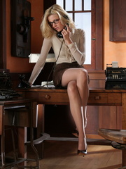 Blonde secretary in glasses - Sexy Women in Lingerie - Picture 6