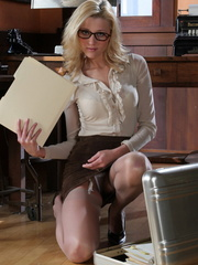 Blonde secretary in glasses - Sexy Women in Lingerie - Picture 7