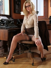 Blonde secretary in glasses - Sexy Women in Lingerie - Picture 8