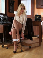 Blonde secretary in glasses - Sexy Women in Lingerie - Picture 9