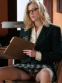 Lovely blonde secretary in glasses, - Picture 5
