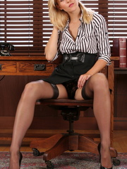 Gorgeous blonde secretary knows - Sexy Women in Lingerie - Picture 7