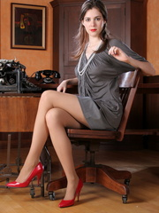 Amazing brunette secretary laying - Sexy Women in Lingerie - Picture 1