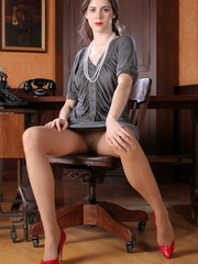 Amazing brunette secretary laying - Sexy Women in Lingerie - Picture 5