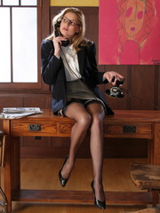 Sexy blonde secretary in glasses - Sexy Women in Lingerie - Picture 2