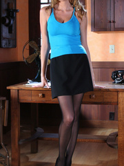 Gorgeous blonde secretary in high - Sexy Women in Lingerie - Picture 1