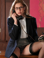 Sexy blonde secretary in glasses - Sexy Women in Lingerie - Picture 5